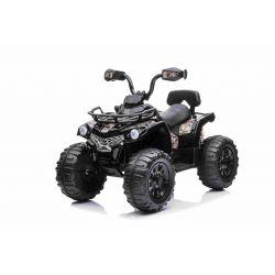 QUAD electric SUPERPOWER 12V, negru, Roți din plastic cu bandă de cauciuc, motor 2 x 45W, scaun din plastic, suspensie, baterie 12V7Ah, MP3 Player