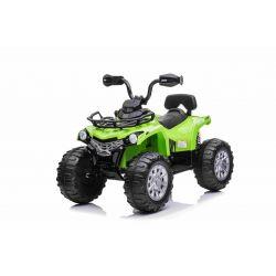 QUAD electric SUPERPOWER 12V, verde, Roți din plastic cu bandă de cauciuc, motor 2 x 45W, scaun din plastic, suspensie, baterie 12V7Ah, MP3 Player