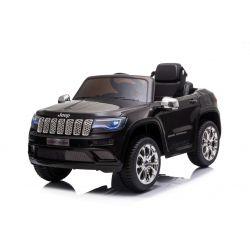 Mașină electrică de jucărie JEEP GRAND CHEROKEE 12V, negru, scaun din piele, telecomandă de 2,4 GHz, intrare USB / AUX, suspensie, baterie de 12V, roți EVA moi, MOTOR 2 X 35W, licență ORIGINALĂ