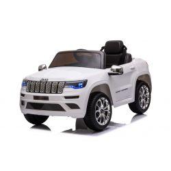 Mașină electrică de jucărie JEEP GRAND CHEROKEE 12V, alb, scaun din piele, telecomandă de 2,4 GHz, intrare USB / AUX, suspensie, baterie de 12V, roți EVA moi, MOTOR 2 X 35W, licență ORIGINALĂ