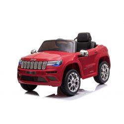 Mașină electrică de jucărie JEEP GRAND CHEROKEE 12V, roșu, scaun din piele, telecomandă de 2,4 GHz, intrare USB / AUX, suspensie, baterie de 12V, roți EVA moi, MOTOR 2 X 35W, licență ORIGINALĂ