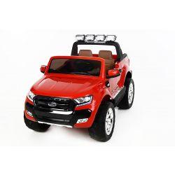 Mașinuță electrică de lux pentru copii Ford Ranger Wildtrak, 4x4 LCD, ecran LCD,  2.4 Ghz, 2x12V,  4x Motoare, telecomandă, două scaune din piele, roți ușoare Eva, Radio FM, Bluetooth,  roșu