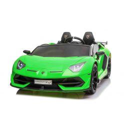 Mașină electrică de jucărie Lamborghini Aventador 12V, două locuri, verde, telecomandă de 2,4 GHz, intrare USB / SD, suspensie, ușă cu deschidere verticală, roți EVA moi, 2 X MOTOR, licență ORIGINALĂ