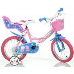 """Bicicletă pentru copii 14"""" Dino 144RPIG Pepa Pig cu scaun pentru păpușă și  coș"""