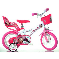 """Bicicletă pentru copii - 12"""" Dino 612LNN cu scaun pentru păpușă și coș licențiată Minnie"""