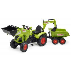 Tractor cu pedale FALK 1010W Claas Axos cu cupă, excavator și remorcă