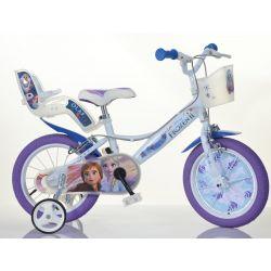 """Biciclete DINO - Biciclete copii 14 """"144RF3 cu scaun de păpușă și coș Frozen 2"""