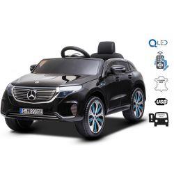 Mașinuță electrică Mercedes-Benz EQC, Negru, Licență originală, scaun din piele, deschidere uși, motor 2x 35W, baterie 12V / 7Ah, telecomanda 2,4 Ghz, roți EVA moi, suspensii, pornire lină, lumini LED