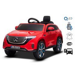 Mașinuță electrică Mercedes-Benz EQC, Roșu, Licență originală, scaun din piele, deschidere uși, motor 2x 35W, baterie 12V / 7Ah, telecomanda 2,4 Ghz, roți EVA moi, suspensii, pornire lină, lumini LED