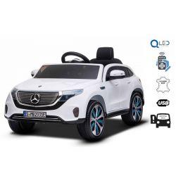 Mașinuță electrică Mercedes-Benz EQC, Alb, Licență originală, scaun din piele, deschidere uși, motor 2x 35W, baterie 12V / 7Ah, telecomanda 2,4 Ghz, roți EVA moi, suspensii, pornire lină, lumini LED