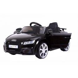 Mașinuță electrică pentru copii Audi TT, Neagră, Licență Originală, cu Baterii, Uși care se deschid, Scaun din Piele, 2x Motoare, Baterie de 12 V, Telecomandă 2.4 Ghz, roți ușoare EVA,  pornire Lină