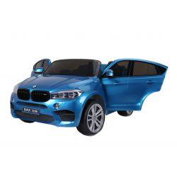 BMW X6 M Mașinuță electrică pentru copii, vopsită în Albastru, Două Scaune din Piele, 2x 120W, Licență Originală, Cu Baterii, Uși care se deschid,  frână electrică, 2x motoare, Baterie 12V10Ah,  Telecomandă 2.4 Ghz, roți ușoare EVA, pornire Lină