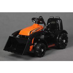 Tractor electric FARMER cu cupă, portocaliu, tracțiune spate, baterie 6V, roți din plastic, scaun larg, motor de 20W, unic, comandă volan, lumini LED