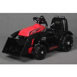 Tractor electric FARMER cu cupă, roșu, tracțiune spate, baterie 6V, roți din plastic, scaun larg, motor de 20W, unic, comandă volan, lumini LED