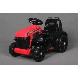 Tractor electric FARMER, roșu, tracțiune spate, baterie de 6V, roți din plastic, scaun larg, motor de 20W, unic, comandă volan, lumini LED