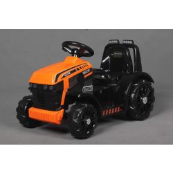 Tractor electric FARMER, portocaliu, tracțiune spate, baterie de 6V, roți din plastic, scaun larg, motor de 20W, unic, comandă volan, lumini LED