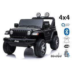 Mașinuță electrică pentru copii JEEP Wrangler, Negru, scaun dublu din piele, Radio cu intrare Bluetooth și USB, unitate 4x4, baterie de 12V10Ah, roți EVA, suspensii spate, telecomandă de 2,4 GHz, licențiat