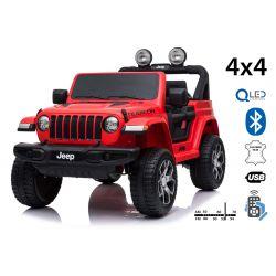 Mașinuță electrică pentru copii JEEP Wrangler, Roșu, scaun dublu din piele, Radio cu intrare Bluetooth și USB, unitate 4x4, baterie de 12V10Ah, roți EVA, suspensii spate, telecomandă de 2,4 GHz, licențiat
