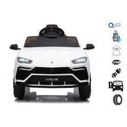 Mașinuță electrică pentru copii, Lamborghini URUS, Albă, licențiată originală, alimentată cu baterii, deschidere uși,  2x motoare, baterie 12 V, telecomandă 2,4 Ghz, roți moi EVA , suspensii, pornire lină