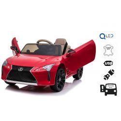 Mașină electrică pentru copii Lexus LC500, roșie, cu licență originală, alimentat cu baterie de 12 V, uși cu deschidere verticală, motor 2x, telecomandă de 2,4 Ghz, suspensii spate, pornire lină