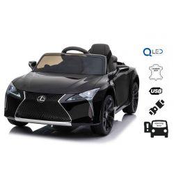 Mașină electrică pentru copii Lexus LC500, negru, cu licență originală, alimentat cu baterie de 12 V, uși cu deschidere verticală, motor 2x, telecomandă de 2,4 Ghz, suspensii spate, pornire lină