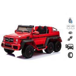 Mașinuță electrică pentru copii Mercedes-Benz G63 6X6 Truck, Roșu, MP3 Player, 6 roți, Roți cu iluminare din spate, 12V14AH, Baterii portabile, Scaun din piele, telecomandă 2.4 GHz, cheie de pornire, 4X motoare, Două pedale