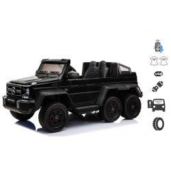 Mașinuță electrică pentru copii Mercedes-Benz G63 6X6 Truck, Negru, MP3 Player, 6 roți, Roți cu iluminare din spate, 12V14AH, Baterii portabile, Scaun din piele, telecomandă 2.4 GHz, cheie de pornire, 4X motoare, Două pedale