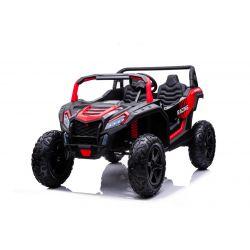 Mașină electrică UTV XXL 24V, roșu, cu două locuri, motor de 180 W, roți gonflabile din cauciuc, osii spate cu arc, frână cu disc, scaun tapițat, volan reglabil, bluetooth, player MP3 cu intrare USB / SD