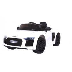 Mașinuță electrică pentru copii Noul Audi R8 Spyder, Albă, Licență Originală, cu Baterii, Uși care se deschid, Scaun din Piele, 2x Motoare, Baterie de 12 V, Telecomandă 2.4 Ghz, roți ușoare EVA,  pornire Lină,  USB, SD