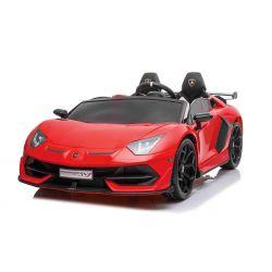Mașină electrică de jucărie Lamborghini Aventador 12V, două locuri, roșu, telecomandă de 2,4 GHz, intrare USB / SD, suspensie, ușă cu deschidere verticală, roți EVA moi, 2 X MOTOR, licență ORIGINALĂ
