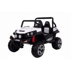 Mașinuță electrică pentru copii RSX tip ATV, Albă- Telecomandă 2.4Ghz, 4x Motoare, 2 scaune din piele, roți ușoare Eva, Radio FM, Bluetooth