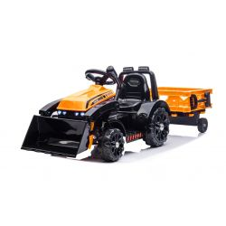 Tractor electric FARMER cu cupă și remorcă, portocaliu, tracțiune spate, baterie 6V, roți din plastic, scaun larg, motor de 20W, comandă volan, lumini LED