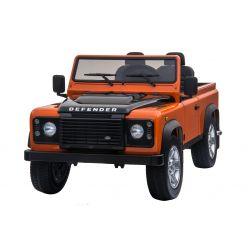 Masina electrica Ride-On Toy Land Land Rover Defender, Licențiată, Radio cu intrare USB / TF, Control de la distanță 2.4Ghz, Baterie 2 x 12V / 7AH, 4X MOTOR, Scaun din piele dublă, Roți EVA, Portocaliu