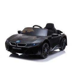 Mașinuță electrică BMW i8, Negru, Licență Originală, Scaun din piele, Deschidere uși, Motor 2x 25W, Baterie 12 V, Telecomanda 2.4 Ghz, Roți EVA moi, Suspensii, Pornire lină