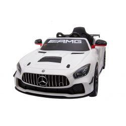 Mașinuță electrică pentru copii Mercedes-Benz GT4, Albă, Licență Originală, Cu Baterii, Uși care se deschid, 2x Motoare, Baterie 12V, Telecomandă 2.4Ghz, Roți ușoare EVA, Servomotor, Pornire Ușoară