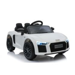 Mașinuță electrică Audi R8 Small, Alb, licență original, alimentate cu baterii, deschidere uși, motor 2x 35W, baterie 12 V, telecomandă de 2,4 Ghz, roți EVA moi, suspensii, pornire ușoară