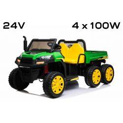 Mașinuță electrică FARM RIDER 6X6 24V cu tracțiune pe 4 roți 4 X 100W, baterie 24V/7Ah, roți EVA, suspensii, telecomandă 2,4 GHz, 2 locuri,  MP3 player cu intrare USB / SD, Bluetooth