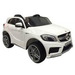 Mașinuță electrică Mercedes-Benz A 45 AMG, 12V, telecomanda de 2,4 GHz, uși care se deschid, 2X MOTOARE, alb, licență ORGINALĂ