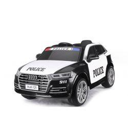 Mașină de Poliție Audi Q5, Telecomandă 2.4 GHz, Motor 2x40, Neagră, USB, Card SD, Scaun din piele, Roți din spumă Eva, Pornire lentă, Licență originală.