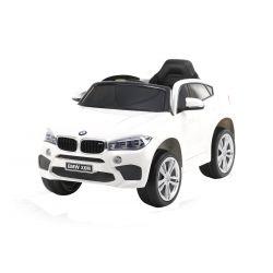 Mașină electrică BMW X6M NOU -alb, roți EVA, scaun din piele, 12V, 2,4 GHz DO, 2X MOTOARE, USB, card SD, licență ORIGINALĂ