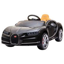 Bugatti Chiron, Negru, Licență Originală, Baterie, Deschidere Portiere, Scaun din piele, 2 x 12V Motoare, Telecomandă 2,4 Ghz, Roți spuma EVA