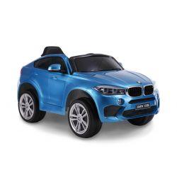 Mașină electrică BMW X6M NOU -albastru, roți EVA, scaun din piele, 12V, 2,4 GHz DO, 2X MOTOARE, USB, card SD, licență ORIGINALĂ