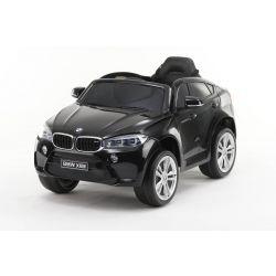 Mașină electrică BMW X6M NOU -vopsită în negru, roți EVA, scaun din piele, 12V, 2,4 GHz DO, 2X MOTOARE, USB, card SD, licență ORIGINALĂ