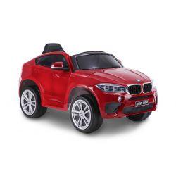 Mașină electrică BMW X6M NOU -roșu lăcuit, roți EVA, scaun din piele, 12V, 2,4 GHz DO, 2X MOTOARE, USB, card SD, licență ORIGINALĂ