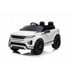 Mașină electrică pentru copii Range Rover EVOQUE, Alb, Scaun din piele, MP3 player cu intrare USB, unitate 4x4, baterie 12V10Ah, Roți EVA, suspensii spate, pornire din cheie, telecomandă Bluetooth de 2,4 GHz, licențiată