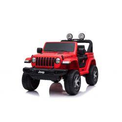 Mașinuță electrică pentru copii JEEP Wrangler, Roșu, scaun dublu din piele, Radio cu intrare Bluetooth și USB, unitate 4x4, baterie de 12V10Ah, roți EVA, suspensii, telecomandă de 2,4 GHz, licențiat