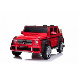 Mașinuță electrică pentru copii Mercedes G650 MAYBACH, Roșu, Licență originală, baterie de 12 V, deschidere uși, motor 2 x 25W, telecomandă de 2,4 Ghz, roți EVA moi, suspensii, pornire lină, MP3 player cu intrare USB / SD