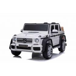 Mașinuță electrică pentru copii Mercedes G650 MAYBACH, Alb, Licență originală, baterie de 12 V, deschidere uși, motor 2 x 25W, telecomandă de 2,4 Ghz, roți EVA moi, suspensii, pornire lină, MP3 player cu intrare USB / SD