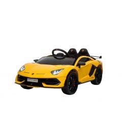 Noul Lamborghini Aventador, Galben, Licență Originală, Cu Baterii, Uși care se deschid vertical, 2x motoare, Baterie 12 V, Telecomandă de 2.4 GHz, Roți Eva moi, Suspensii, Pornire lentă.