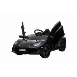 Noul Lamborghini Aventador, Negru, Licență Originală, cu Baterii, Uși care se deschid vertical, 2x motoare, Baterie 12 V, Telecomandă de 2.4 GHz, Roți Eva moi, Suspensii, Pornire lină